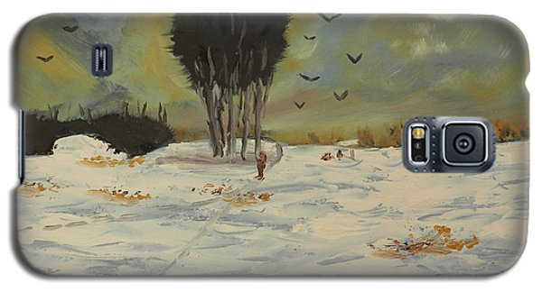 Galaxy S5 Case featuring the painting Snow At Christmas by Pamela  Meredith