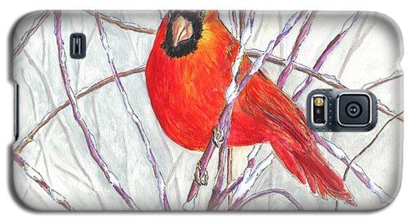 Galaxy S5 Case featuring the painting Snow Cardinal by Carol Wisniewski