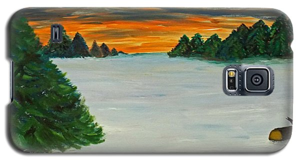 Galaxy S5 Case featuring the painting Snow Covered Clearing In The Forest by Martin Blakeley