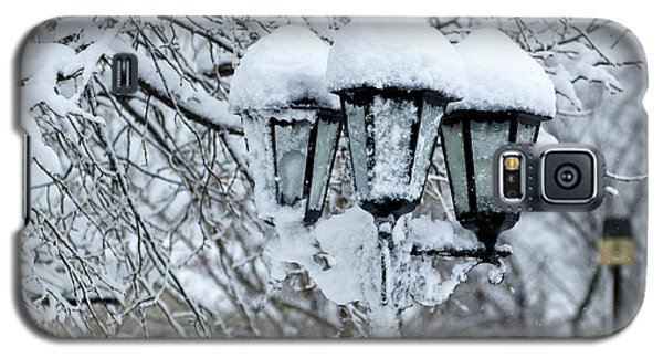 Galaxy S5 Case featuring the photograph Snow On Lamps by Jessie Parker