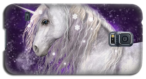 Snow Unicorn With Purple Background Galaxy S5 Case