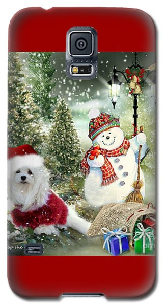 Galaxy S5 Case featuring the mixed media Snowdrop And The Snowman by Morag Bates