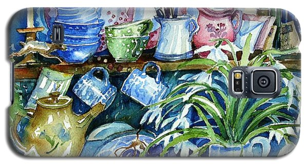 Galaxy S5 Case featuring the painting Snowdrops On A Kitchen Dresser by Trudi Doyle