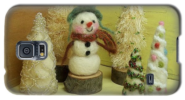 Snowman And Trees Holiday Galaxy S5 Case by Mary Wolf