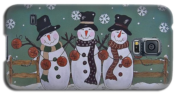 Galaxy S5 Case featuring the painting Snowmen Jingle by Cindy Micklos