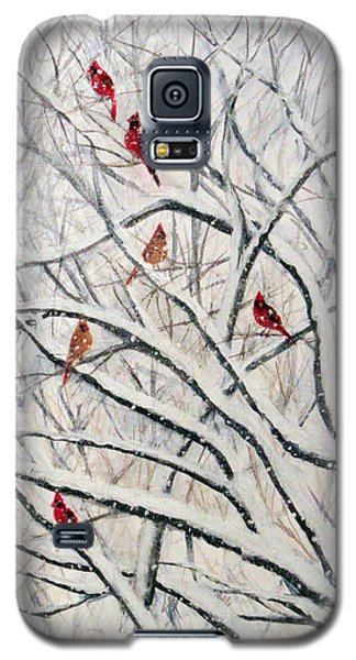 Galaxy S5 Case featuring the painting Snowy Cardinal Tree by Janet Greer Sammons