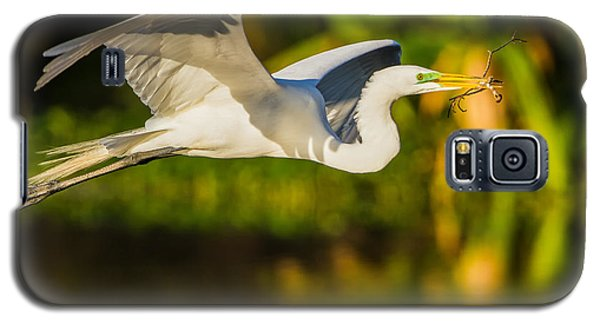 Snowy Egret Flying With A Branch Galaxy S5 Case