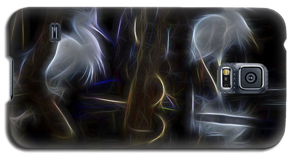 Galaxy S5 Case featuring the digital art Snowy Egrets 1 by William Horden