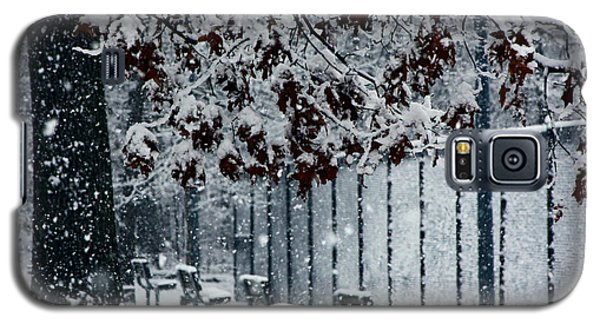 Galaxy S5 Case featuring the photograph Snowy Leaves by Andy Lawless
