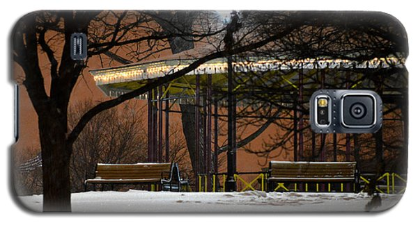Galaxy S5 Case featuring the photograph Snowy Night In Leone Riverside Park by Bill Swartwout