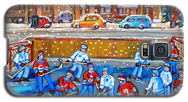 Snowy Rink Hockey Game Montreal Memories Winter Street Scene Painting Carole Spandau Galaxy S5 Case