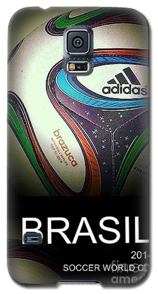 Galaxy S5 Case featuring the digital art Soccer World Cup Poster 1 by Andrew Drozdowicz