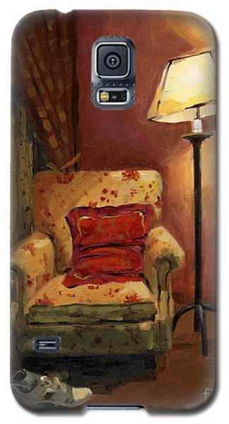 Galaxy S5 Case featuring the painting Sold - And Sit Right Down by Nancy  Parsons