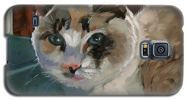 Galaxy S5 Case featuring the painting Sold -nelly Logan by Nancy  Parsons
