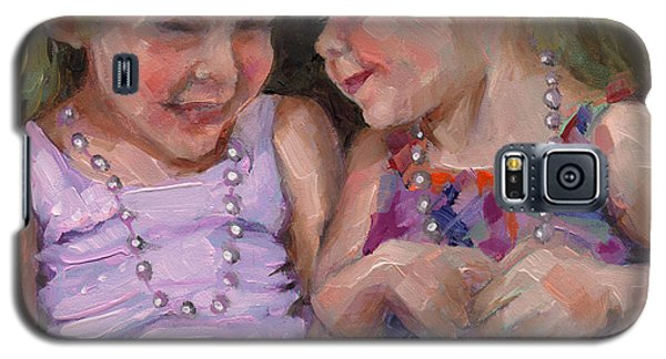 Galaxy S5 Case featuring the painting Sold Silly Sister Secrets by Nancy  Parsons