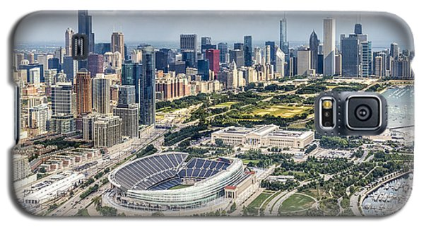 Helicopter Galaxy S5 Case - Soldier Field And Chicago Skyline by Adam Romanowicz