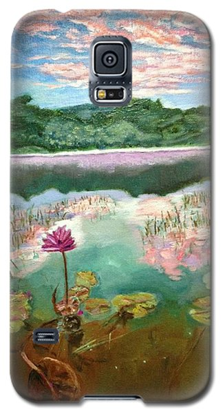 Galaxy S5 Case featuring the painting Solitary Bloom by Belinda Low