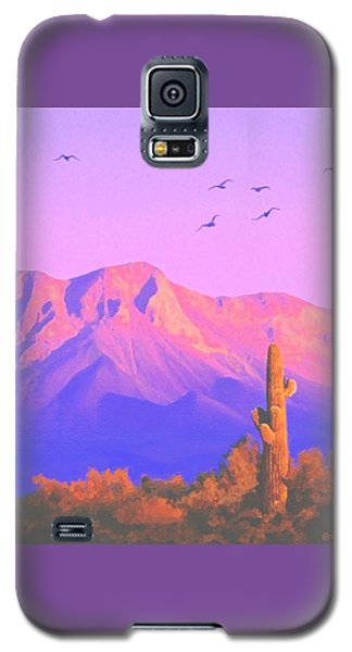 Galaxy S5 Case featuring the painting Solitary Silent Sentinel by Sophia Schmierer