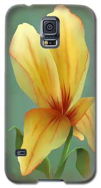 Galaxy S5 Case featuring the painting Solitary Yellow Tulip by Sena Wilson