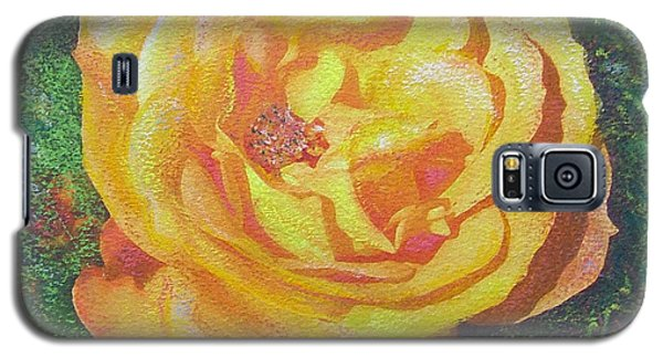 Galaxy S5 Case featuring the painting Solo Orange Rose by Richard James Digance