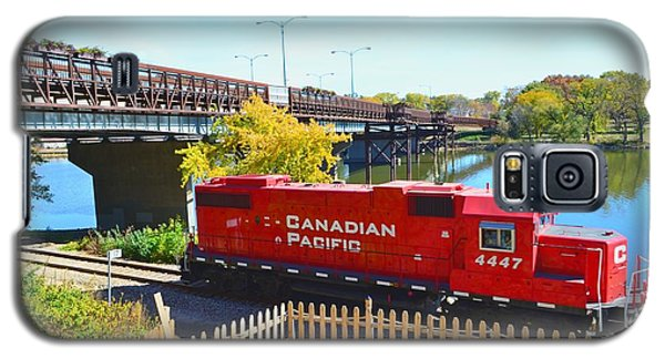 Solo Red Canadian Pacific Engine Along Rock River In Rockford Galaxy S5 Case by Jeff at JSJ Photography