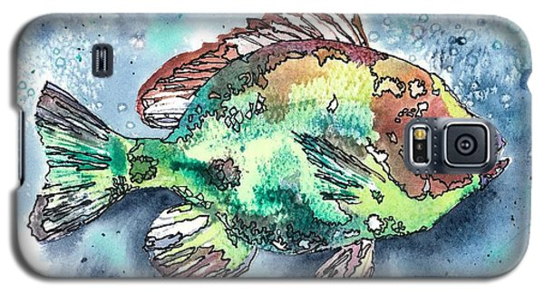 Galaxy S5 Case featuring the painting Something's Fishy Two by Barbara Jewell