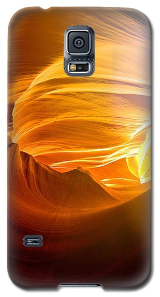 Galaxy S5 Case featuring the photograph Somewhere In America Series - Gold Colors In Antelope Canyon by Lilia D