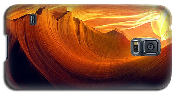 Galaxy S5 Case featuring the photograph Somewhere In America Series - Golden Yellow Light In Antelope Canyon by Lilia D