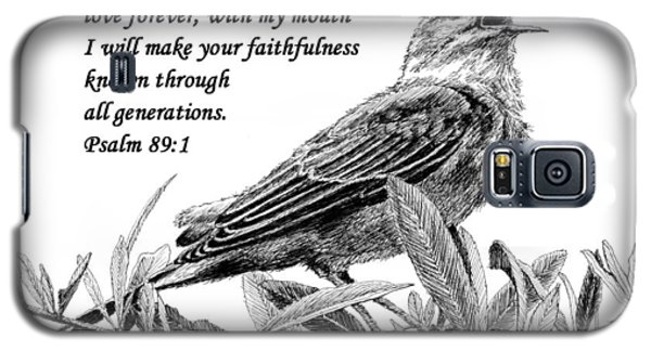 Galaxy S5 Case featuring the drawing Songbird Drawing With Scripture by Janet King