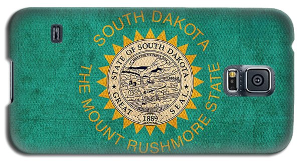 South Dakota State Flag Art On Worn Canvas Galaxy S5 Case by Design Turnpike