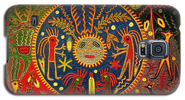 Galaxy S5 Case featuring the digital art Southwest Huichol Del Sol by Vagabond Folk Art - Virginia Vivier
