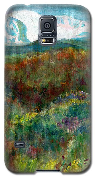Galaxy S5 Case featuring the painting Spanish Peaks Evening by C Sitton