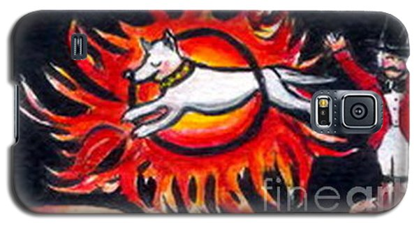 Galaxy S5 Case featuring the painting Sparky The Dog Jumps Through The Fiery Hoop by Joyce Gebauer