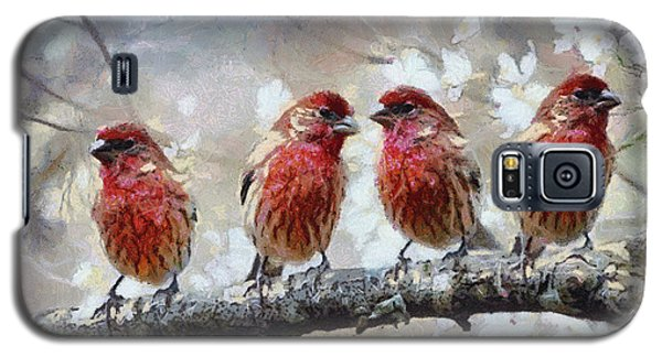 Galaxy S5 Case featuring the painting Sparrows by Georgi Dimitrov