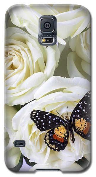 Rose Galaxy S5 Case - Speckled Butterfly On White Rose by Garry Gay