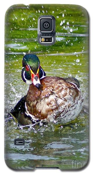 Galaxy S5 Case featuring the photograph Splashdown - Wood Duck by Adam Olsen