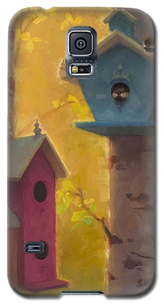 Spring Chickadees 2 - Birdhouse And Birch Forest Galaxy S5 Case
