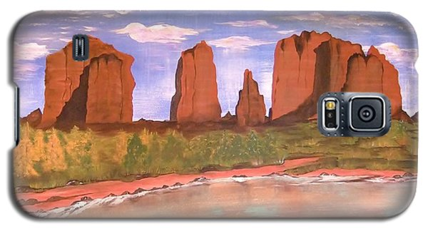 Galaxy S5 Case featuring the painting Spring Mist At Cathedral Rock Oak Creek Sedona by Cindy Micklos