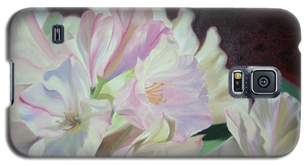 Galaxy S5 Case featuring the painting Spring Rhodys by Nancy Jolley