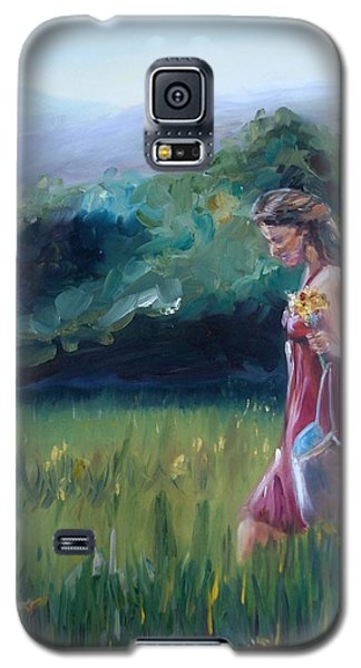 Galaxy S5 Case featuring the painting Spring Stroll by Donna Tuten