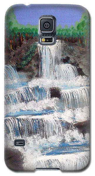 Galaxy S5 Case featuring the painting Spring Waterfall by Carol Duarte