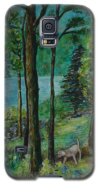 Spring Woodland With Dog - Painting Galaxy S5 Case by Veronica Rickard