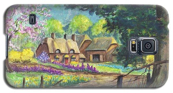 Galaxy S5 Case featuring the painting Springtime Cottage by Carol Wisniewski