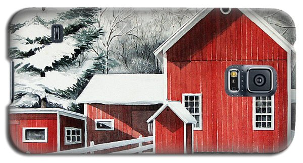 Galaxy S5 Case featuring the painting Springwater Barns by Joan Hartenstein