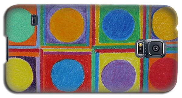 Galaxy S5 Case featuring the drawing Squares And Circles by Patricia Januszkiewicz