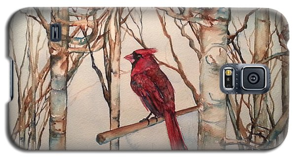 Galaxy S5 Case featuring the painting St Louis Cardinal Redbird by Christy  Freeman