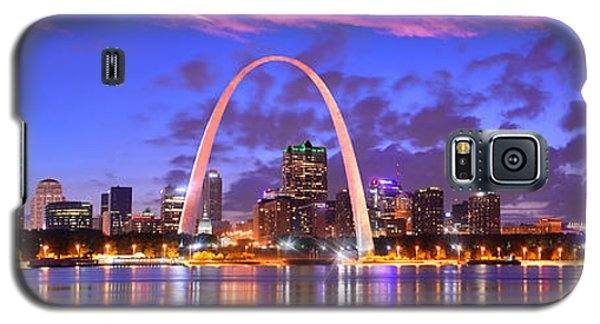 Galaxy S5 Case featuring the photograph St. Louis Skyline At Dusk Gateway Arch Color Panorama Missouri by Jon Holiday