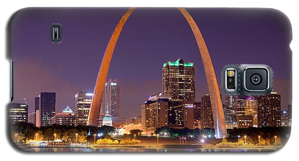 Galaxy S5 Case featuring the photograph St. Louis Skyline At Night Gateway Arch Color Panorama Missouri by Jon Holiday