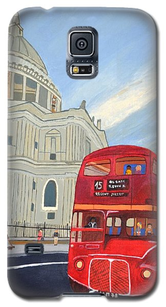 Galaxy S5 Case featuring the painting St. Paul Cathedral And London Bus by Magdalena Frohnsdorff