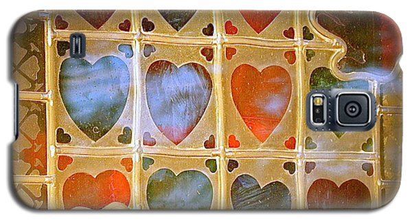 Galaxy S5 Case featuring the photograph Stained Glass Hands And Hearts by Kathy Barney